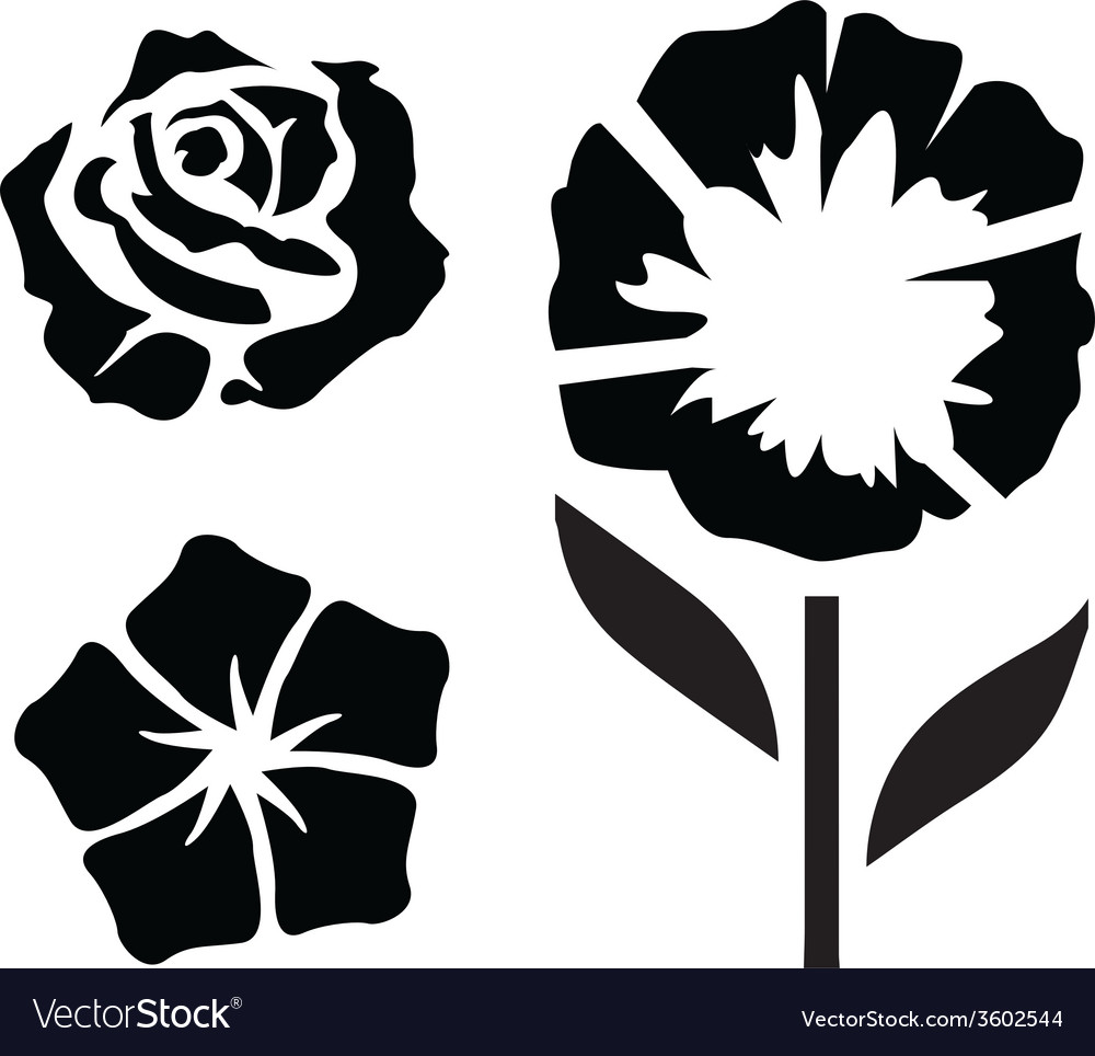 Flower Silhouettes - 2 vector image