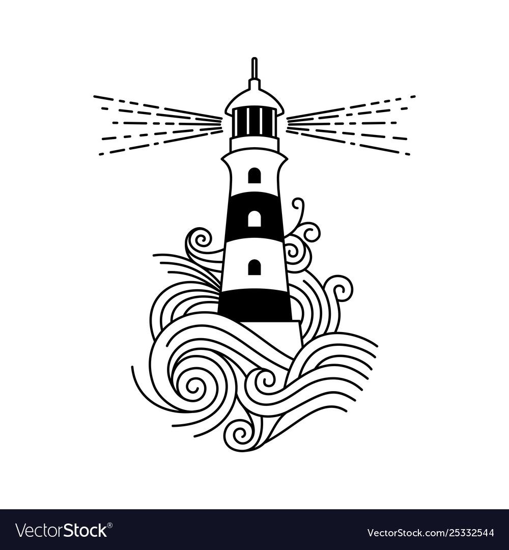 Lighthouse among waves
