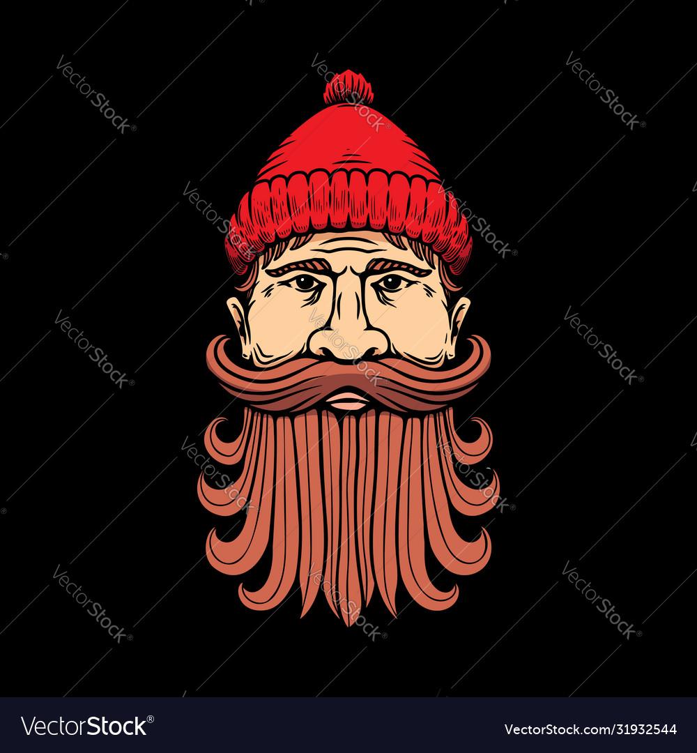 Lumberjack head in engraving style design element