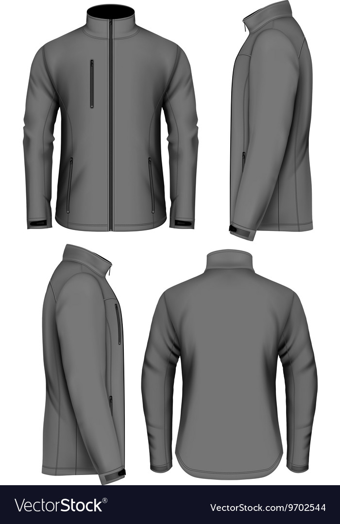 men softshell jacket design template royalty free vector