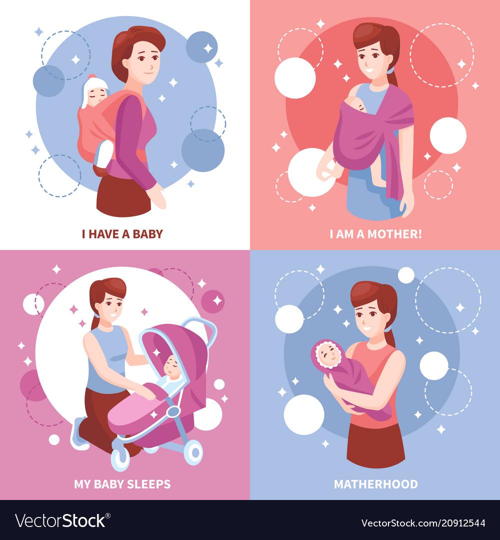 Motherhood sleeping babies concept