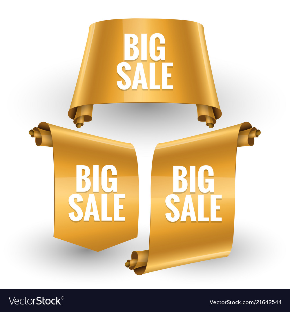 Sale gold banner set realistic red glossy paper