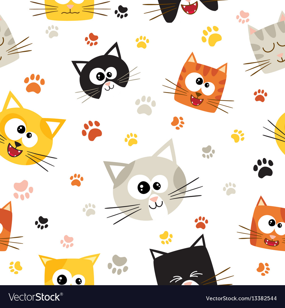 seamless pattern with cute cartoon cats royalty free vector
