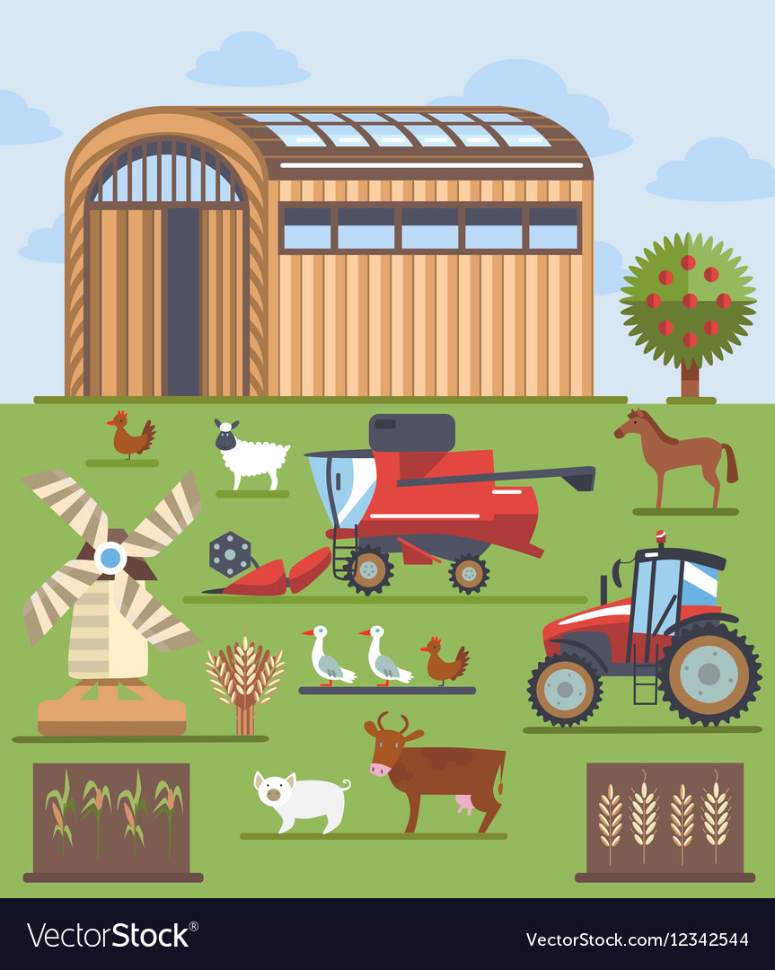 Set flat icons on farming and agriculture theme