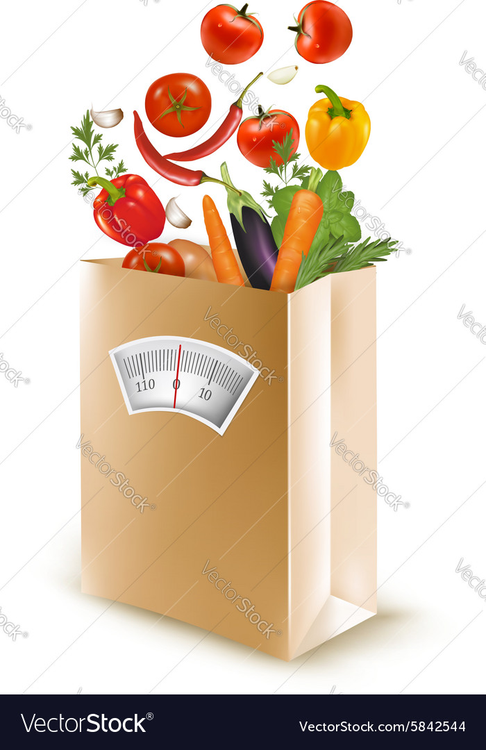 Shopping bag with healthy fruit and a scale