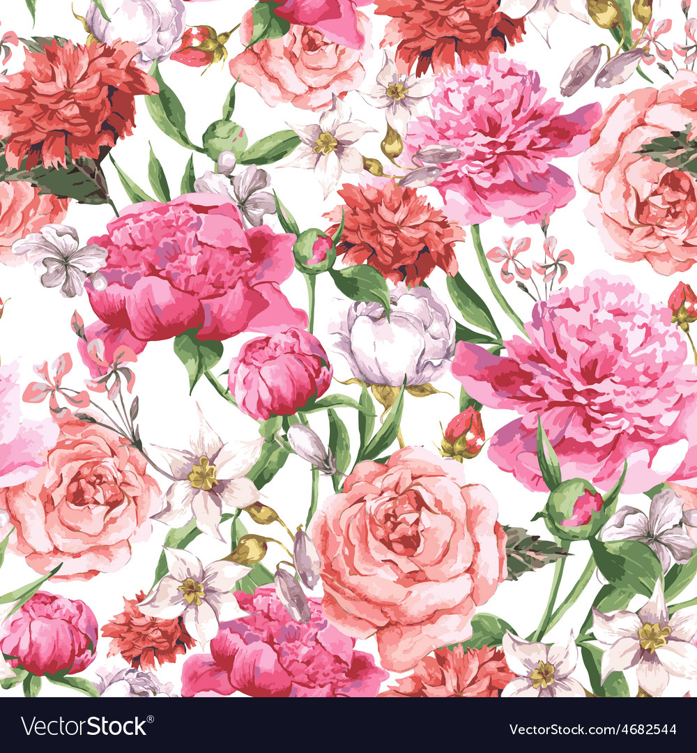 Summer seamless watercolor pattern with pink