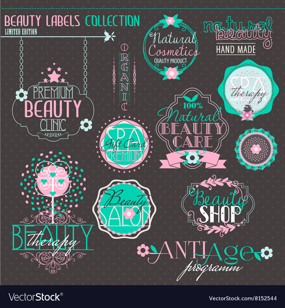Vintage Labels Set for Beauty and Health Industry