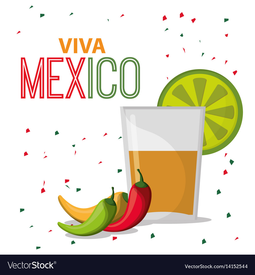 Viva Mexico Greeting Drink Confetti Royalty Free Vector