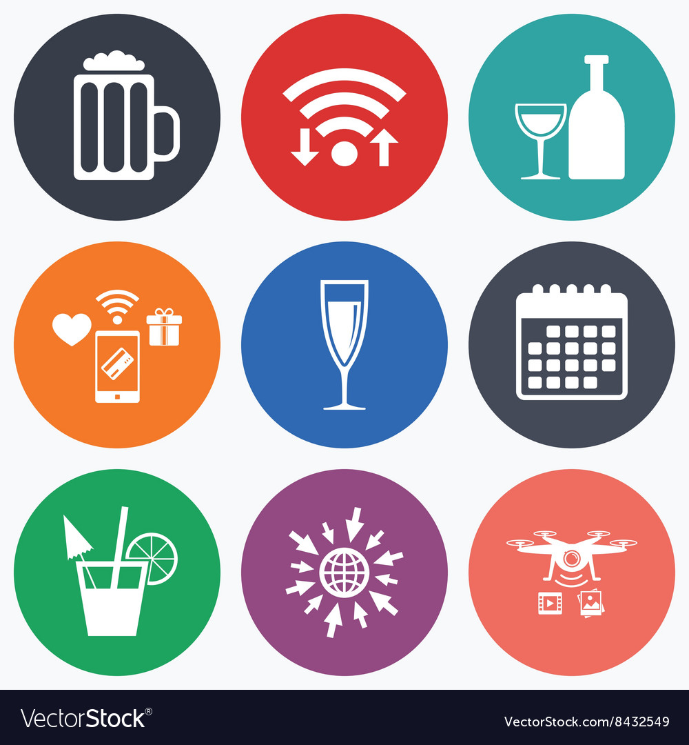 Alcoholic drinks signs Champagne beer icons