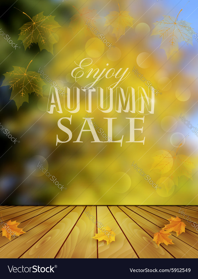 Autumn Sale Background With Colorful Leaves