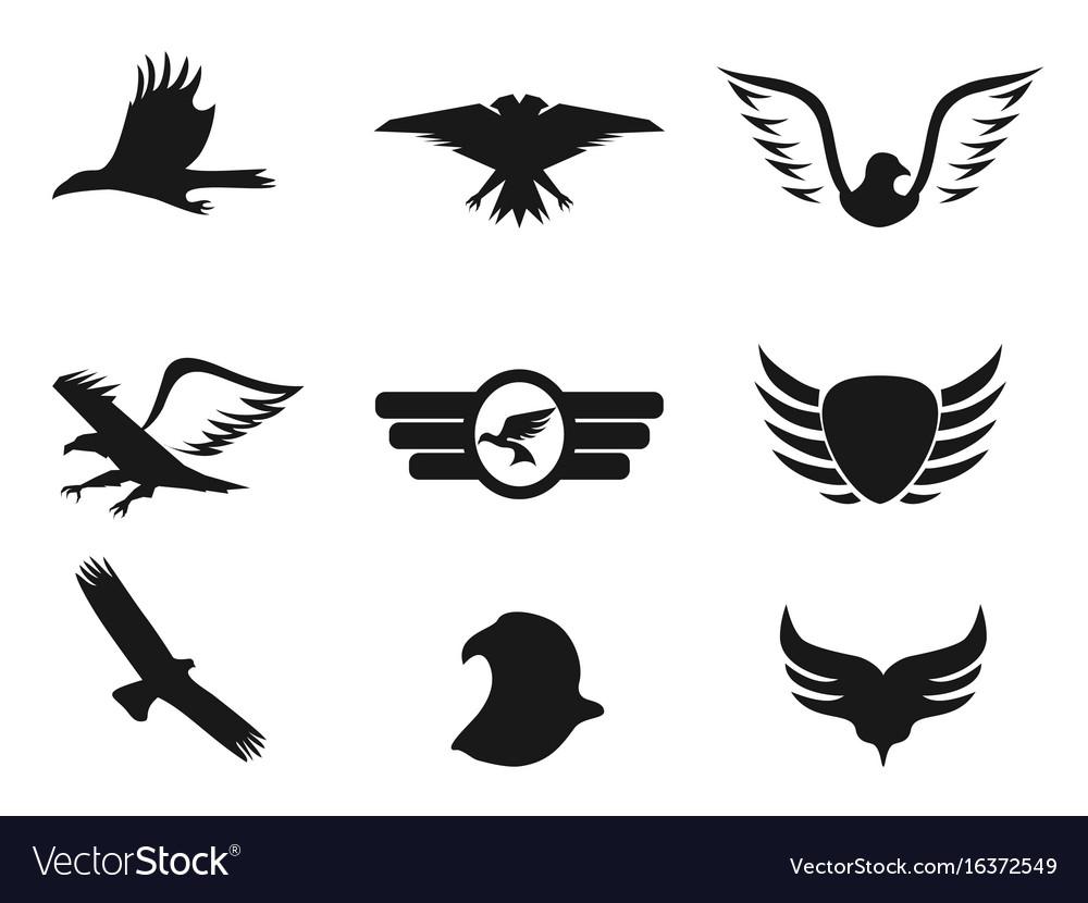 Black eagle icons set vector image