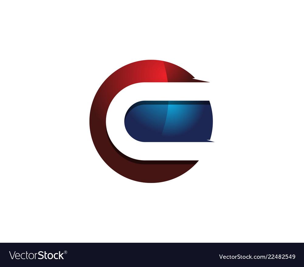 C 3d colorful circle letter logo icon design