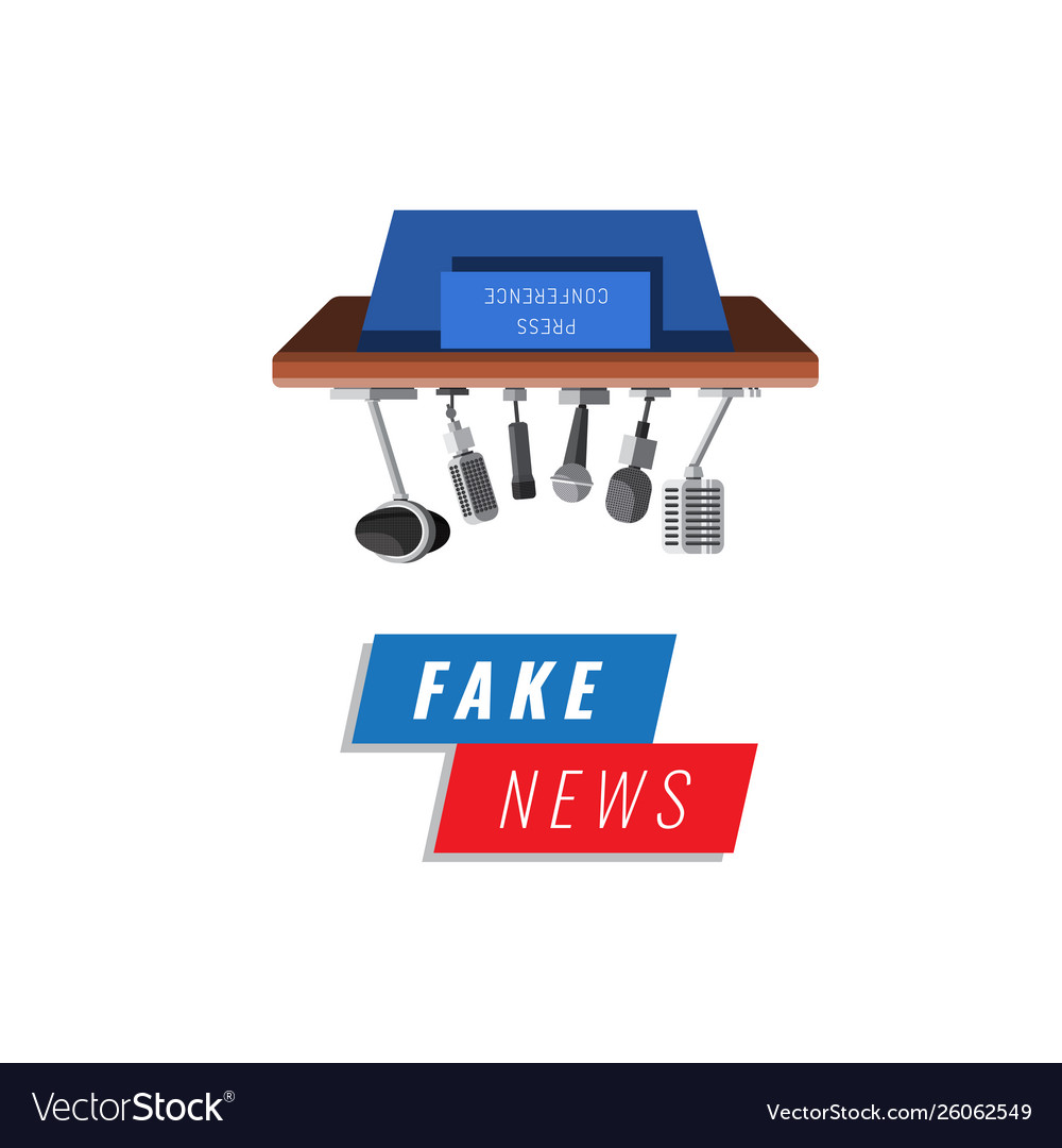Fake news banner isolated on white background