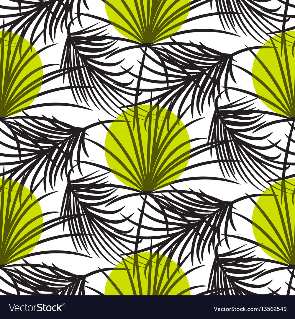 Gray palm leaves with green dots seamless vector image