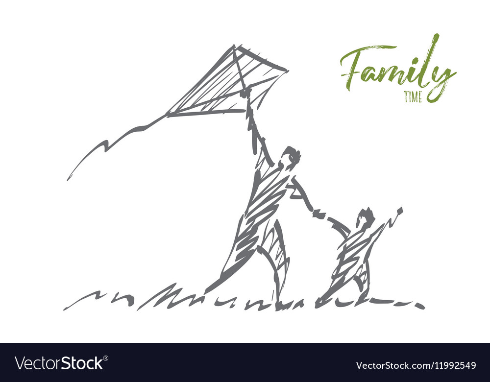 Hand drawn dad and son flying kite with lettering