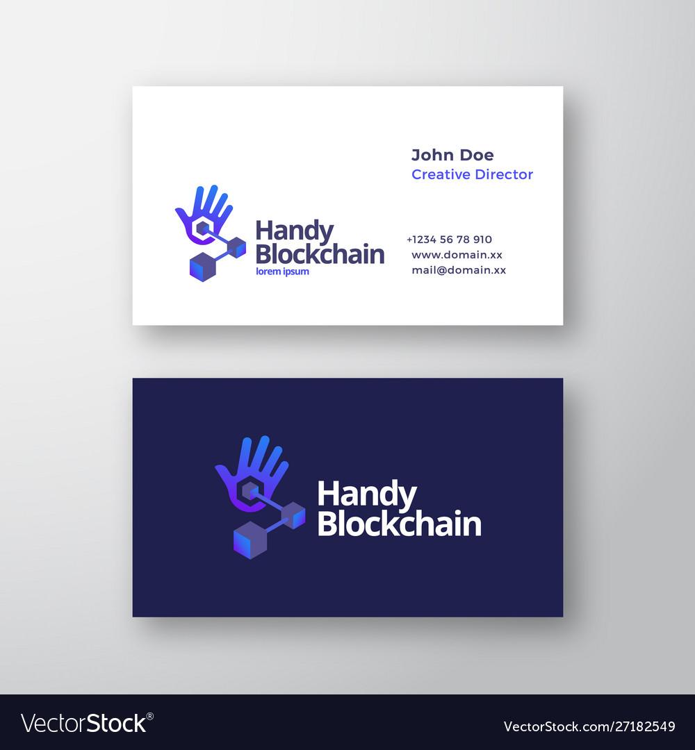 Handy blockchain technology abstract logo