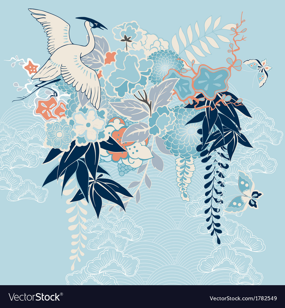 Japanese kimono motif with crane and flowers