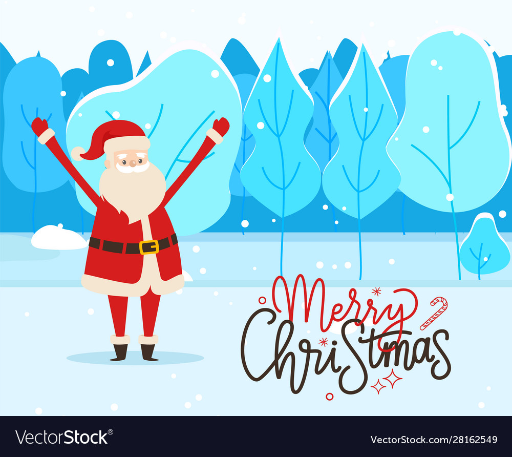 Merry christmas greeting postcard with santa claus