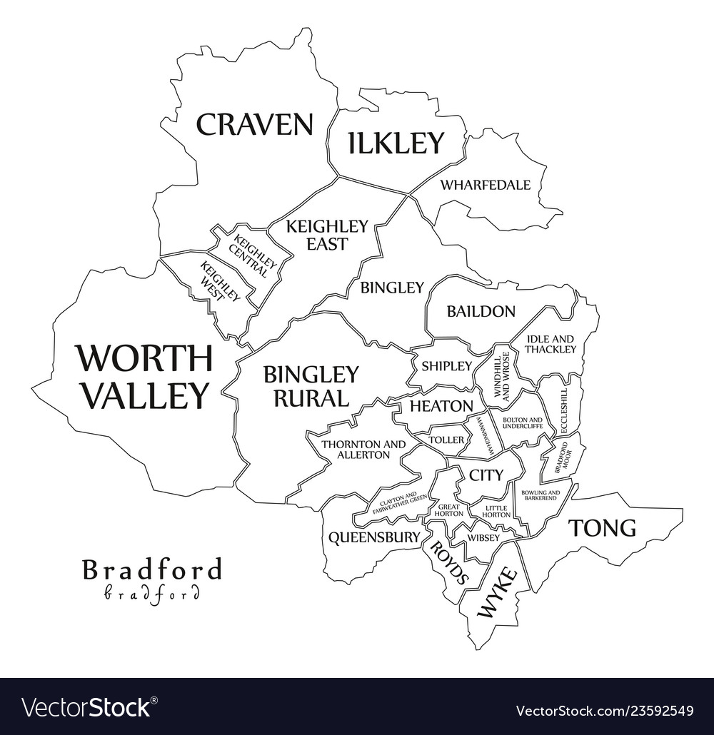 City Map Of Uk.Modern City Map Bradford City Of England With Vector Image