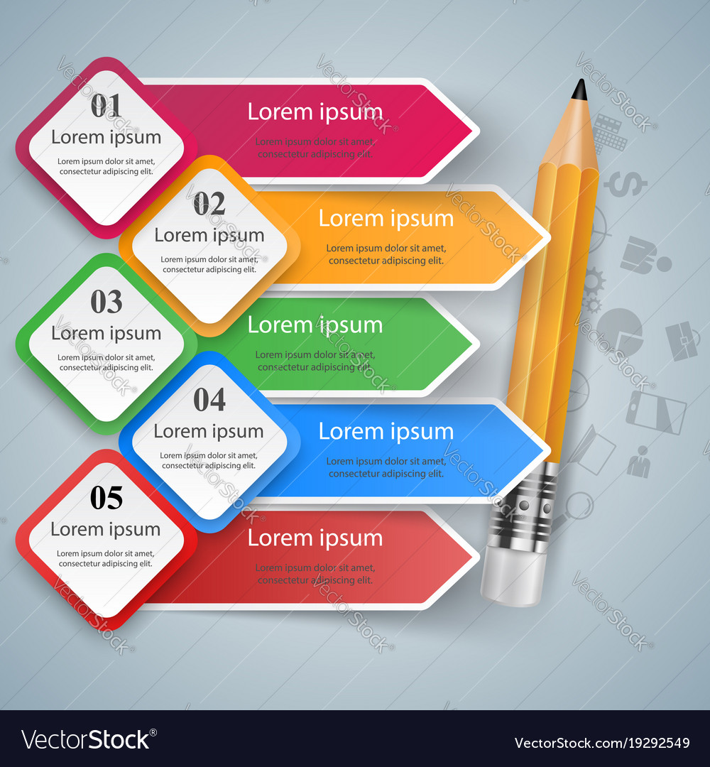 Pencil Education Icon Business Infographic Vector Image