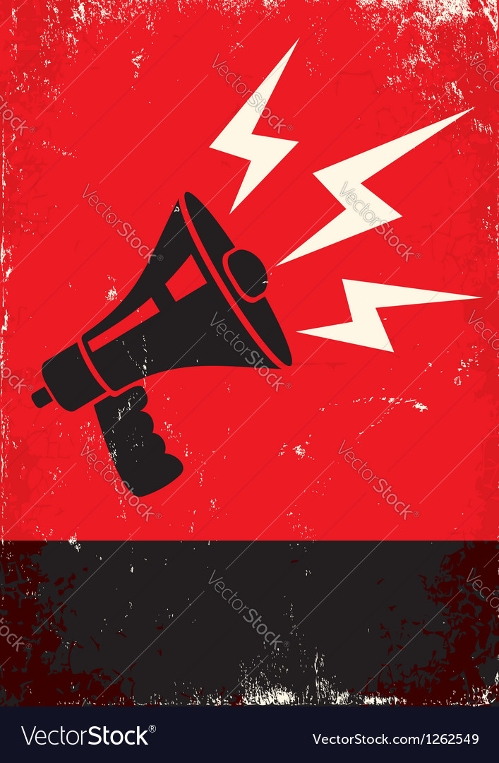 Red poster with megaphone