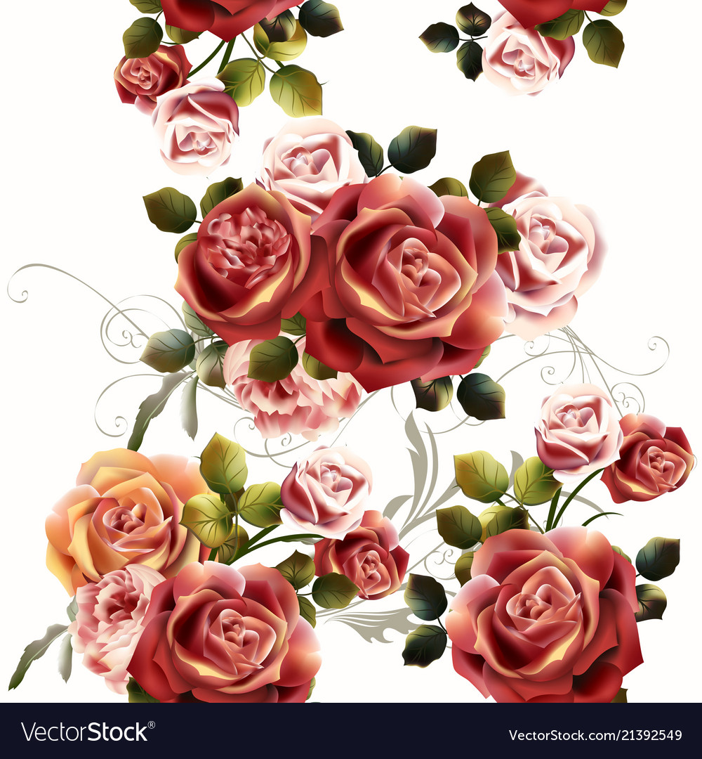 Seamless background or pattern with rose flowers