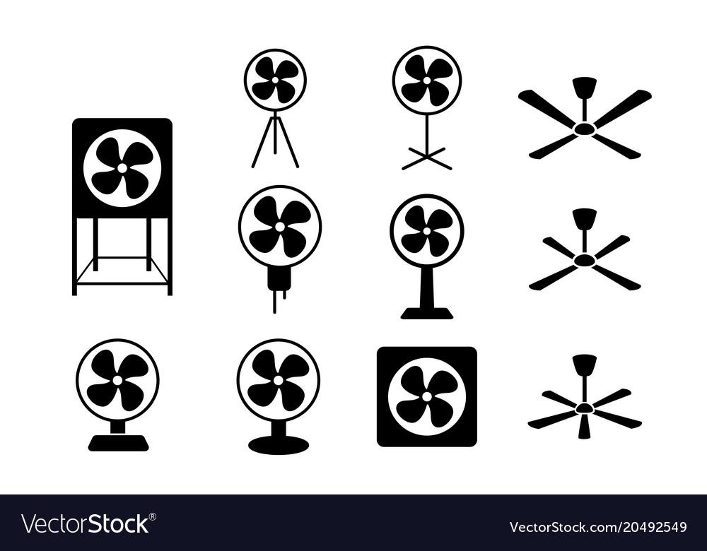 Set electric fan icon in silhouette style