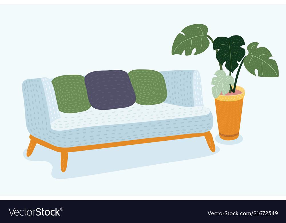Sofa on a wooden frame for modern living room