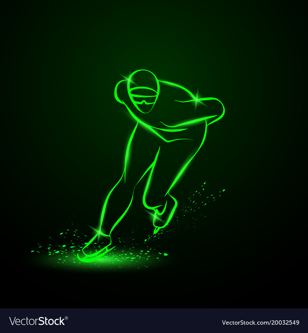 Speed skater neon winter sport
