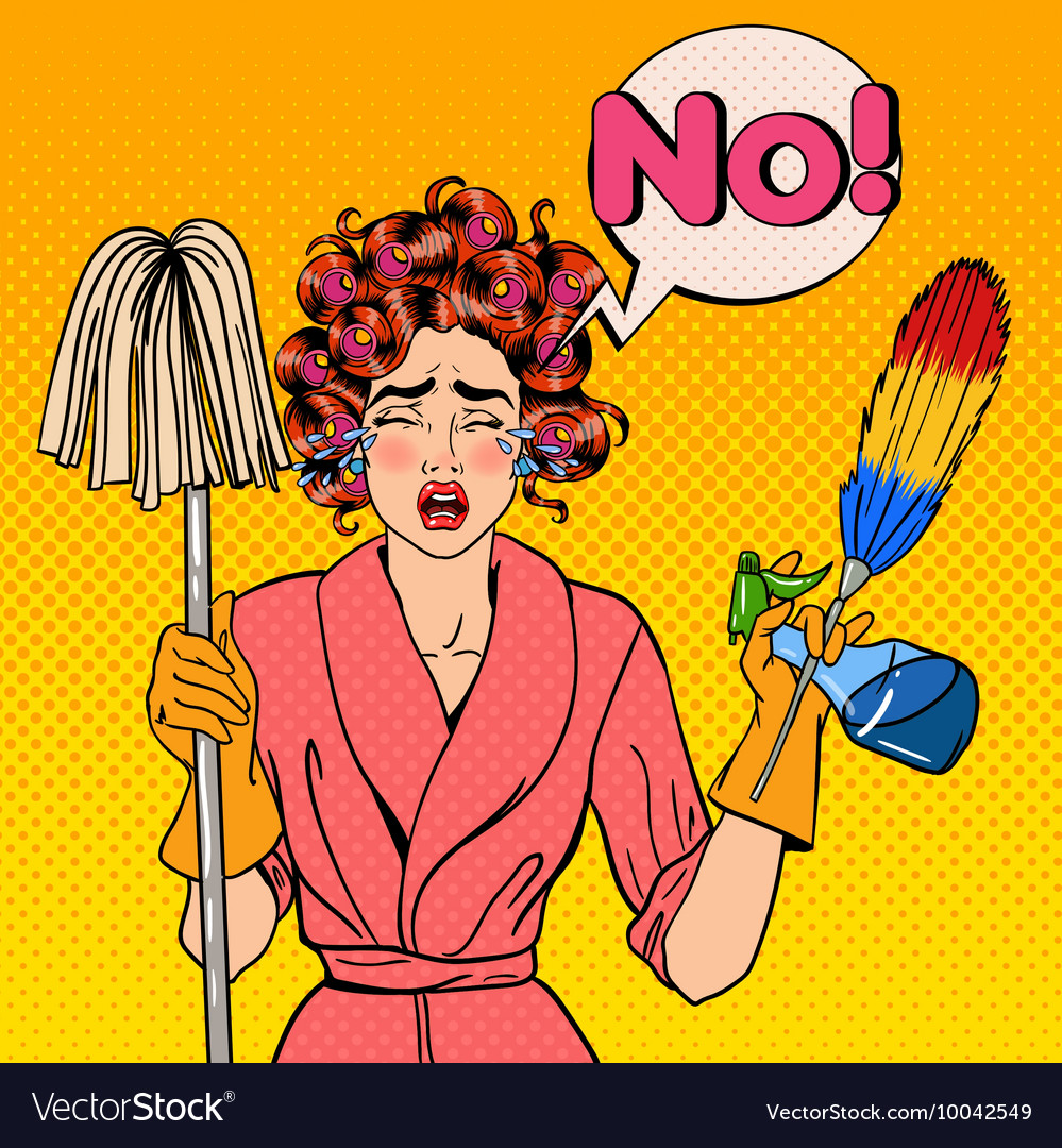 Stressed housewife with mop pop art