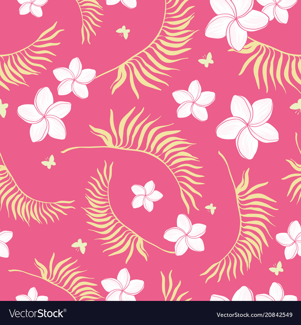 Tropical Pink Flowers Seamless Repeat Pattern Vector Image