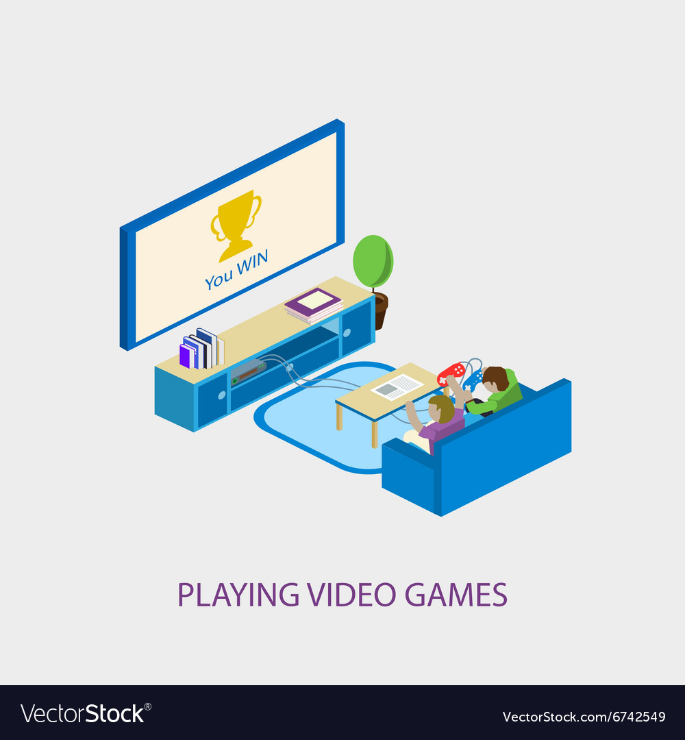Two school kids playing video games together vector image