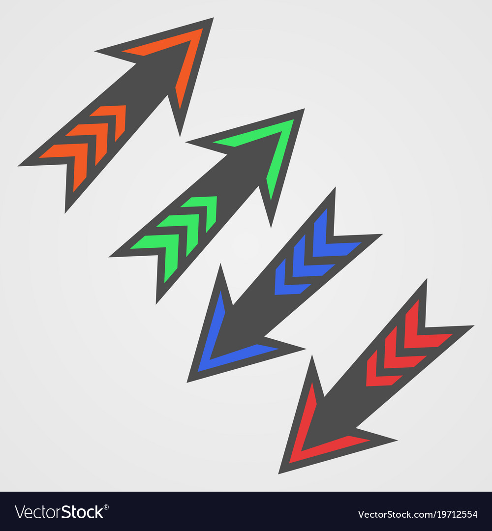 Colored arrows on white background vector image