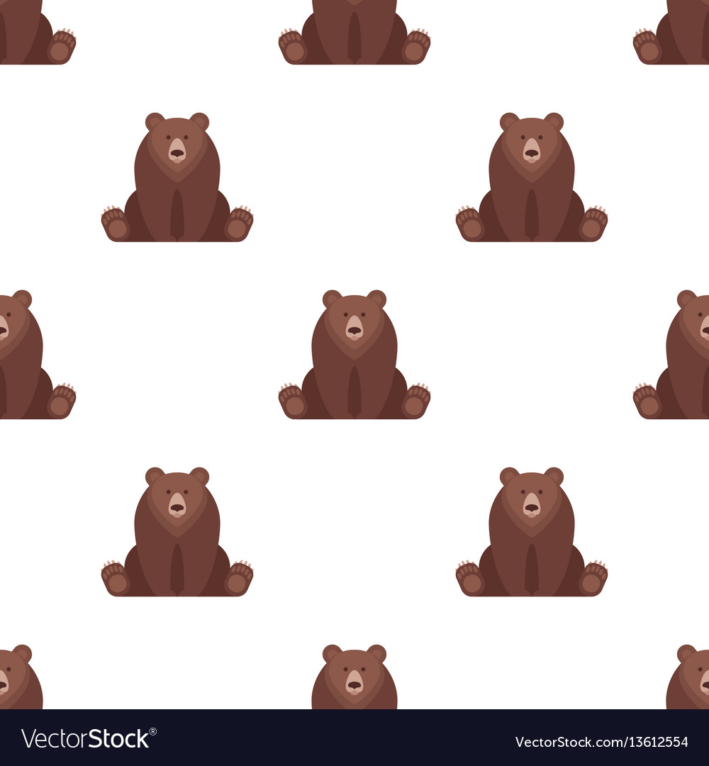 Flat style seamless pattern with bear vector image
