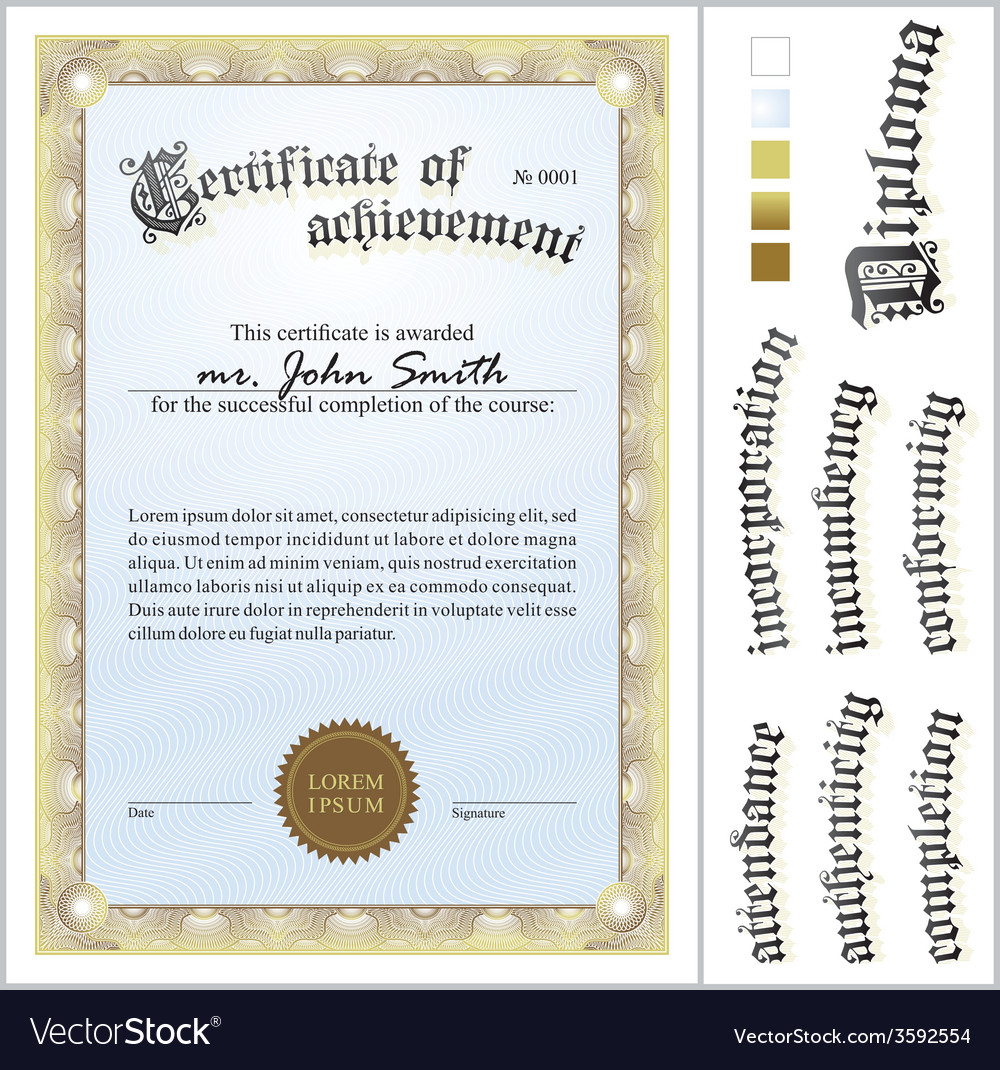 Gold Certificate Template Vertical Additional Vector Image