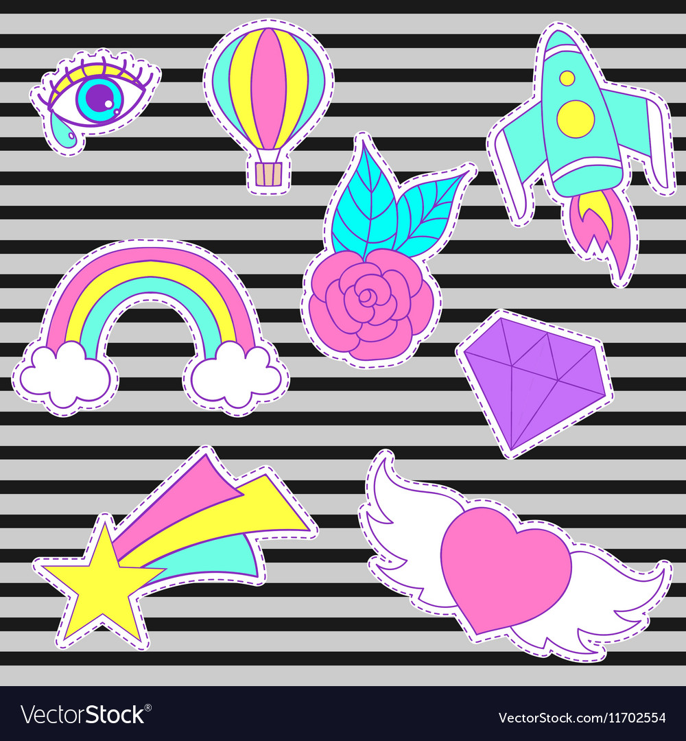 Happy fashion patches retro sweet badges with