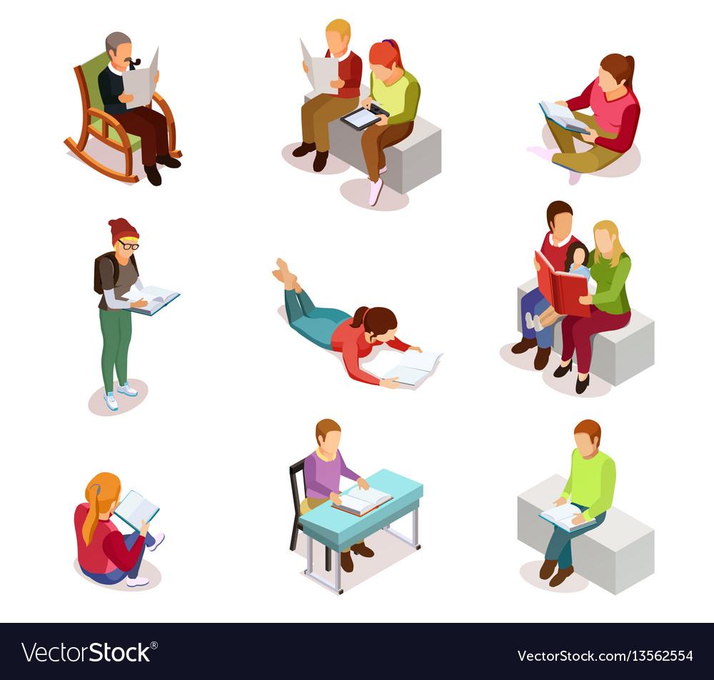 Isometirc reading people icon set vector image