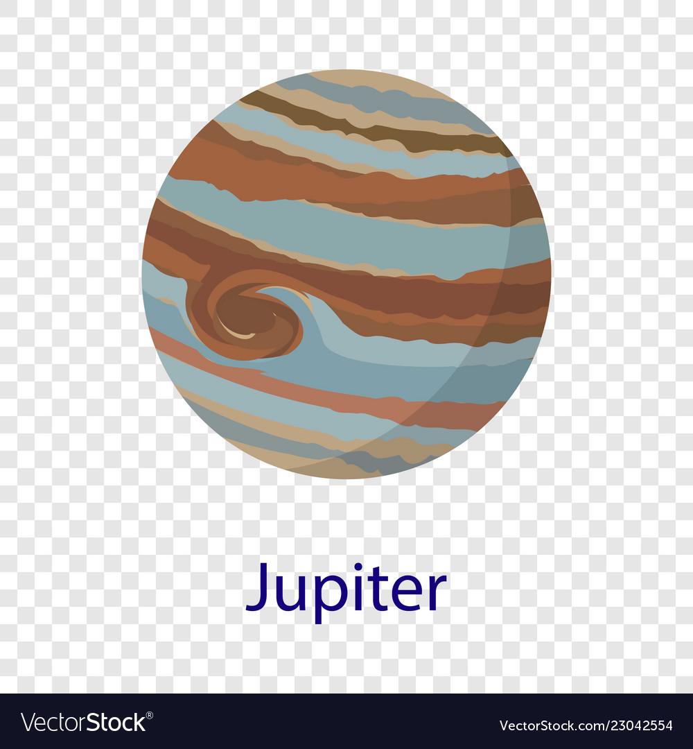 Jupiter planet icon flat style