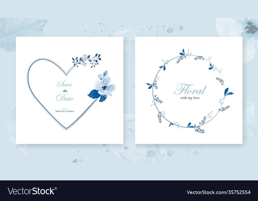 Set card heart frame amp wreath decorated