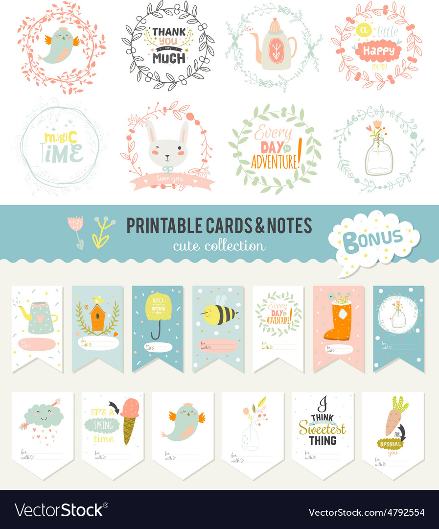 Set of cards notes and stickers with cute