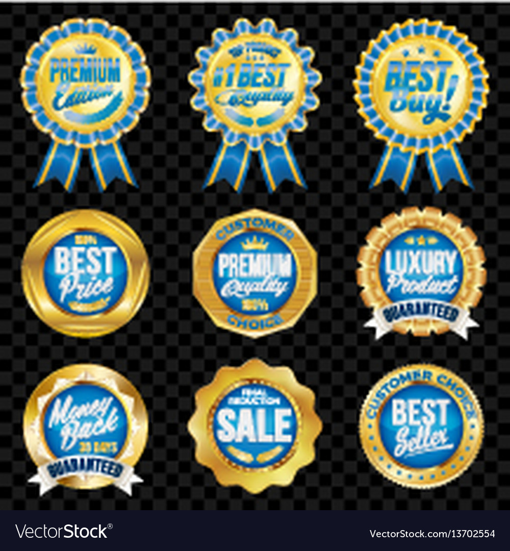 Set of excellent quality blue badges with gold