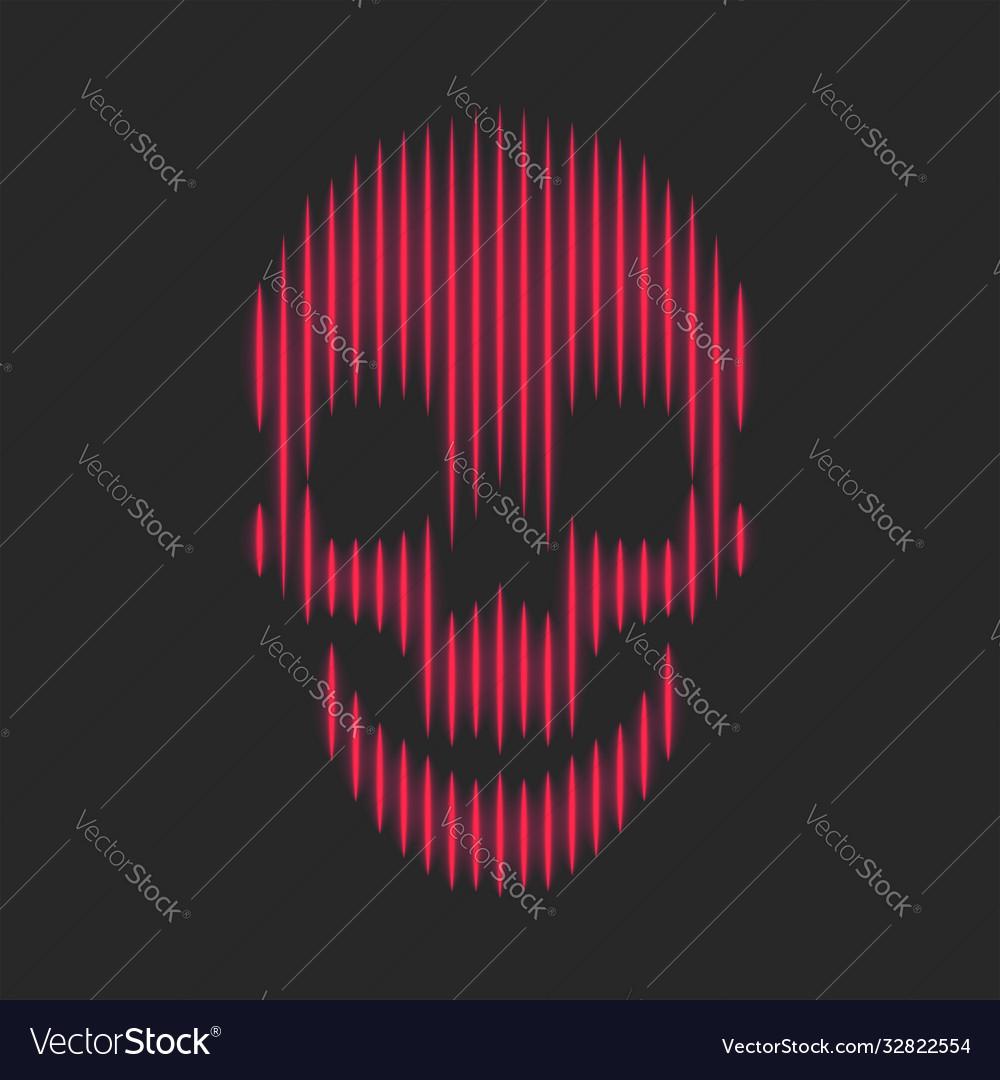 Skull neon red bright lines fashion print t-shirt