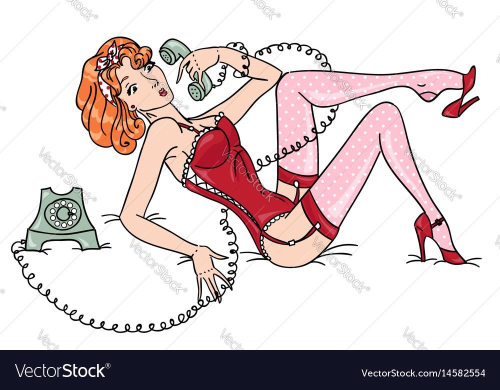Surprised pin up girl speaking phone vector image