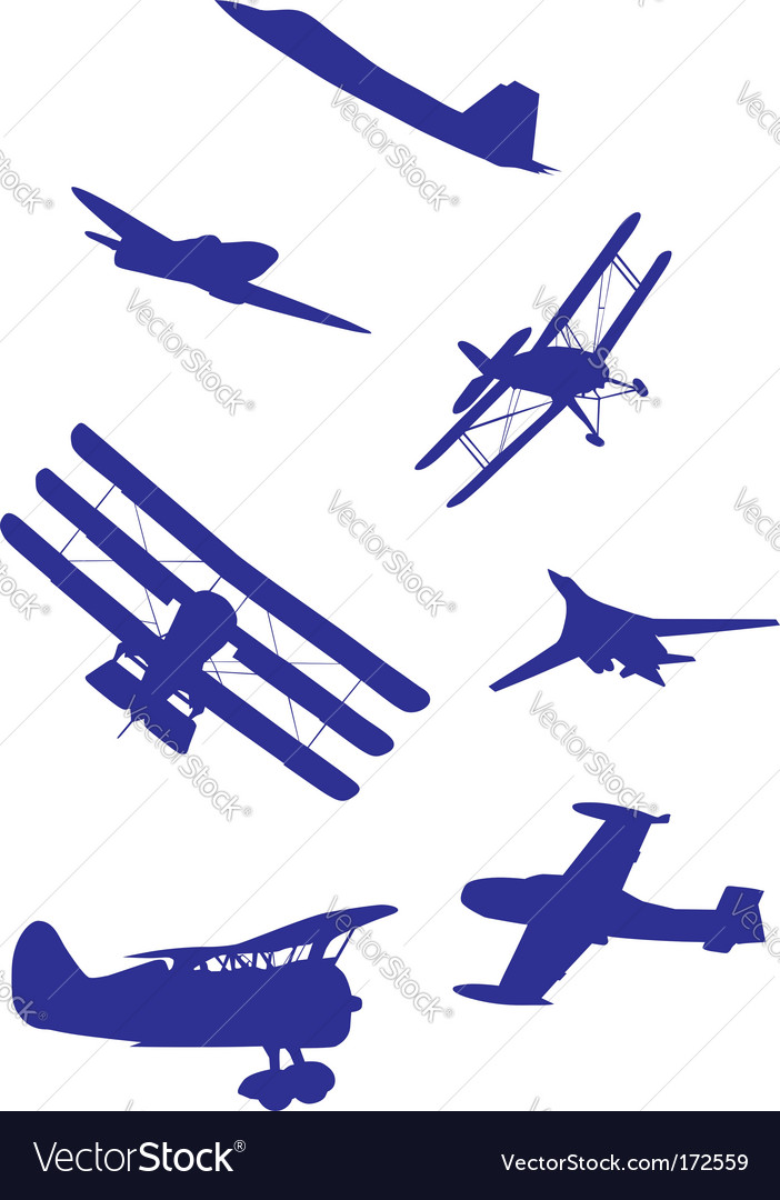 Airplanes silhouettes vector image