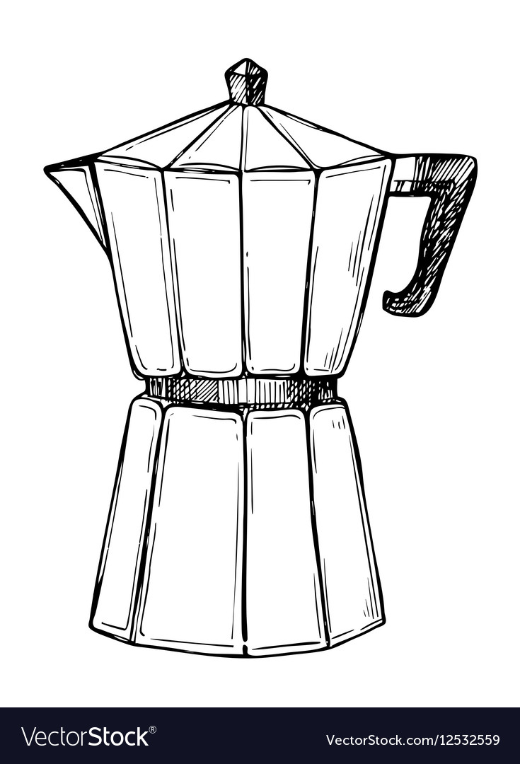 Coffee maker freehand pencil drawing Royalty Free Vector