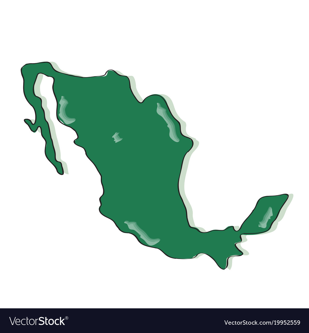 Comic drawing of a map of mexico