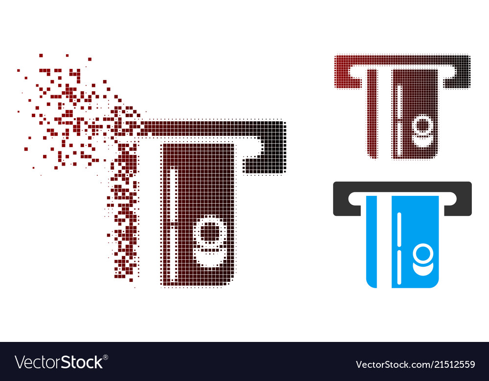 Disappearing pixel halftone atm terminal icon vector image