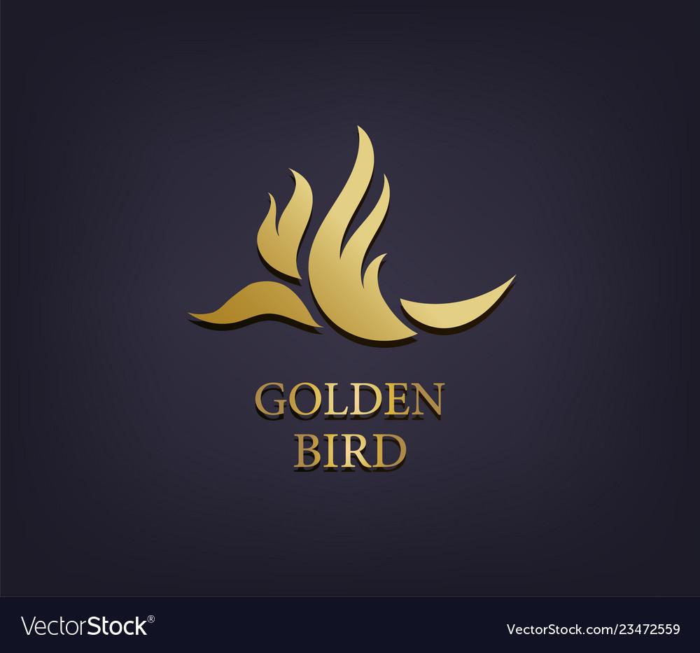 Golden bird logo abstract luxury icon