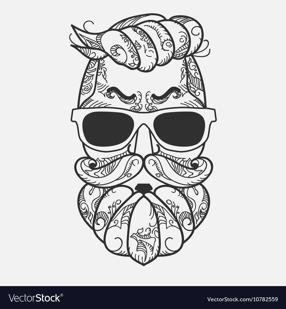 1811c055bc Hipster character with beard hair and glasses Vector Image