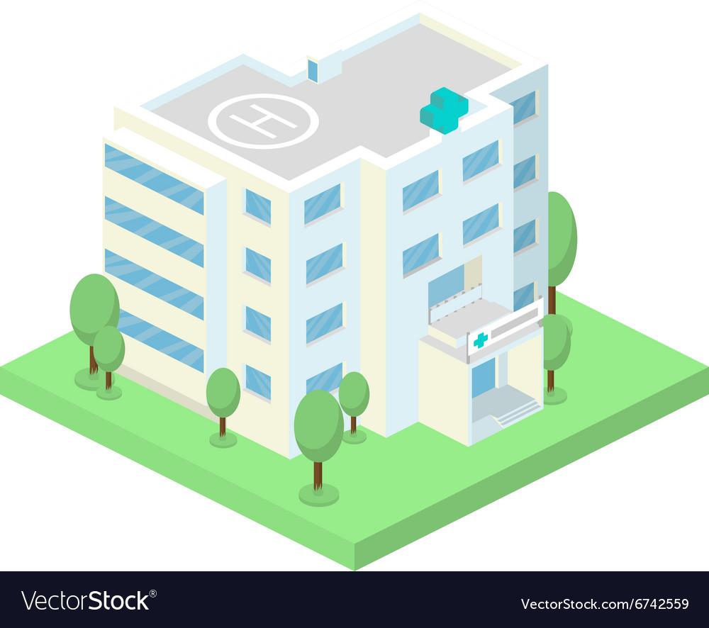 Isometric hospital building and landscape